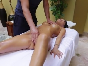Massaging a hot Asian babe