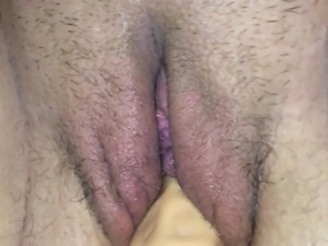 Pussy getting fucked by huge dildo