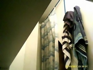 31yo beurette caught undressing in bathroom (hidden cam)