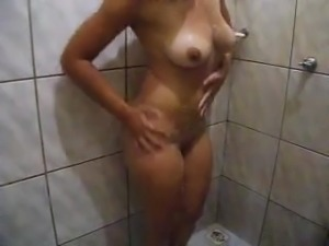 Hot girl filming herself in the shower