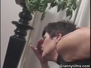 Granny Gets A Mouthful Of Cum