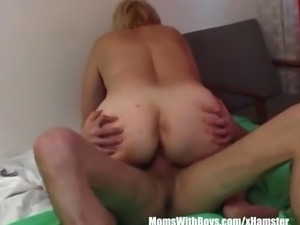 Hot blonde mature mama in red laced bra and panty suck and fucks young cock...