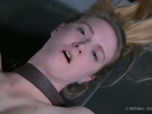 Crucified leggy GF Ashley Lane gets her tight pussy pleasured with vibrator...