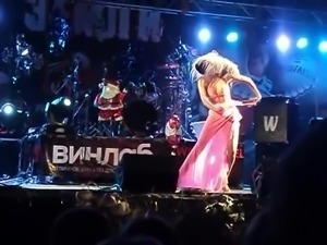sexy russian girl striptease to nude at concert stage