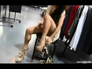 Sexy girl public flashing in shopping mall
