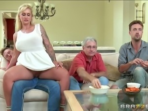 Horny tattooed MILF in sexy white mini dress sucks big cock at kitchen