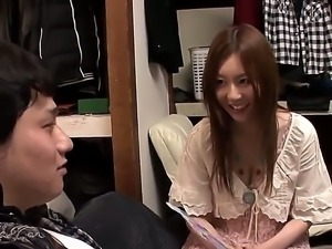 Adorable long haired Japanese brunette Yui Tatsumi with tight sexy body and...