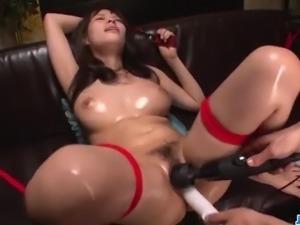 Piled up, Kyouko Maki, moans during harsh bondage sex