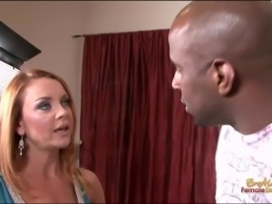 Mad redhead housewife calms down the second she sees a black