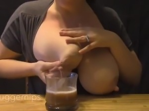 Mother Expresses Breast Milk Into Coffee