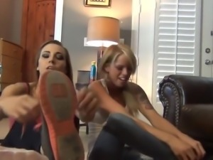 Double White Pantyhose Footjob with Sasha & Violet
