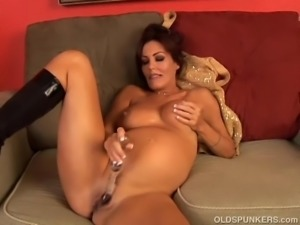 Pretty pregnant MILF fucks her fat juicy pussy for you
