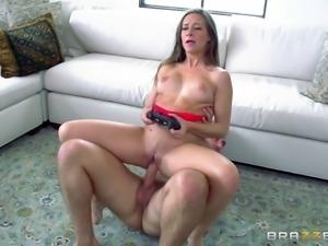 Gamer brunette slut has her asshole fucked while playing