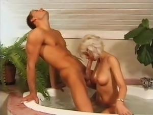 Gorgeous blonde bathroom fuck