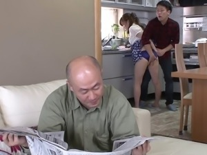Horny Asian housewife gets fucked while hubby is in the next room
