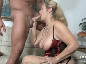 Lustful blonde granny gets big load smeared all over her butt cheek