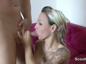 German Teen Seduce to Fuck by Shemale and Stranger