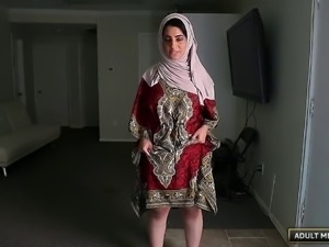 Cute Arab babe with a big ass sucks dick and gets laid