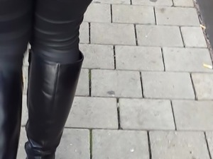 Great ass in very tight pants and leather boots