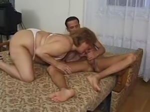 Hairy mature BBW nailed by a younger cock