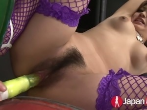 Hairy cunt of Misaki Aiba is fucked hard with different sex toys