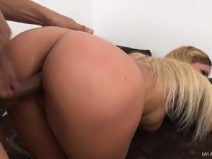 Busty blonde Chelsey spreads her sexy long legs for a big black stick