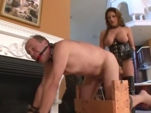 Mistress Hard StrapON fuck slave while zaping balls