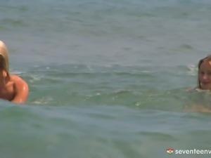 Nudist Euro girls are bathing in ocean before doing kinky stuff
