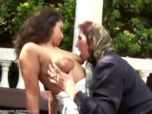 Dumb old granny pissed on and fucked by bae