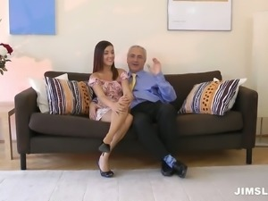 Horny and pretty hottie Iwia poses in front of old man to win his dick
