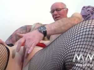 Freaky blond bitch with saggy boobs blows staff cock of grey haired man