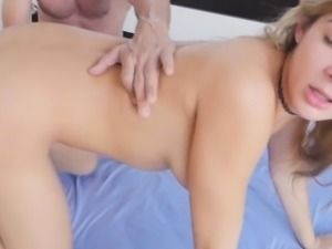 Blair was hypnotized by her stepdads humongous cock