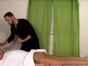 Massaged trans beauty analfucked by masseur