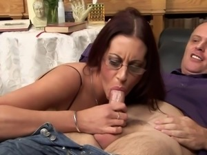 Geeky babe teases her clit with a toy while dude bangs her ass