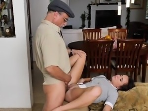Teen Babe Amy Spreads Her Legs For Old Guy