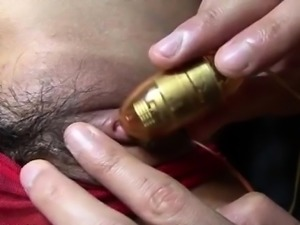 Rumika feels cock sliding in each of her exposed holes