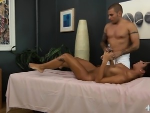 Attractive brunette enjoys a relaxing massage and an intense fucking