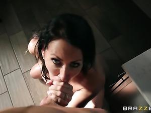 Brunette with huge tits gets her