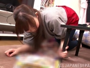 Dirty Japanese girl gets fucked doggystyle and takes a facial cumshot