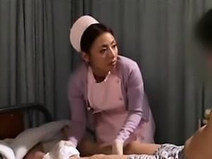 Delightful Asian nurse has a horny patient caressing her bi