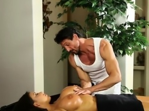 Busty police officer massage and fucked by her masseur