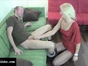 Elegant blonde in a tight red dress JC Simpson jacks off a hard pole