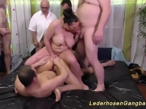 Extreme wild bbw slippery nuru lederhosen gangbang groupsex fuck orgy