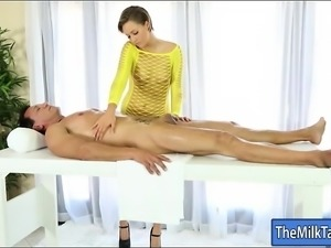 Short hair masseuse masturbates and blowjobs under the table