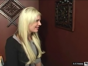 Blonde with big tits in bra giving huge dick superb blowjob