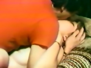 Classic blonde lady on the couch fingered by white dude