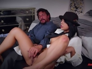 Long hair brunette hairy pussy punished doggystyle while screaming