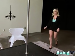 Two cuties introducing with swing guys