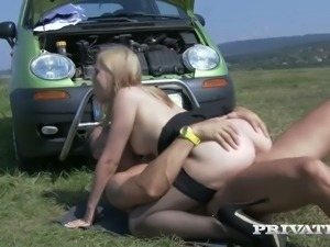 Alana Moon is enjoying some passionate daytime sex on the field