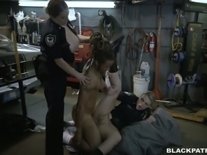 Lustful and horny police officers fuck handsome mechanic in threesome